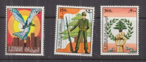 LEBANON, 1984 Lebanese Army set of 3, mnh.
