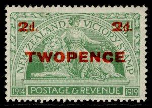 NEW ZEALAND GV SG459, 2d on ½d green, M MINT.