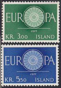 Iceland Scott #327-28 Complete Set MNH Europa 1960