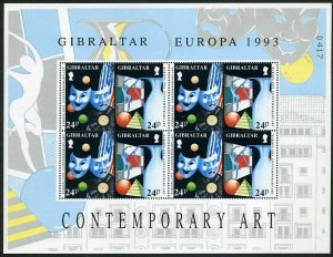 Gibraltar 626-629 sheets,MNH.Michel 654-657. EUROPE CEPT-1993.Contemporary Art.