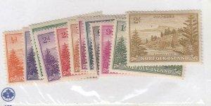 NORFOLK ISLAND (MK6431) # 1-12  VF-MNH/LH MIX VARd,2sh  VIEW OF BALL BAY  CV $15
