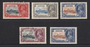 Barbados the KGV Jubilee set used
