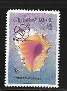 CHRISTMAS ISLAND 348 MNH INDIAN OCEAN SHELL