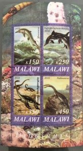 Malawi 2010 M/S Dinosaurs Prehistorics Wild Animals Nature Plants Stamps MNH (3)