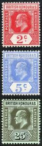 British Honduras SG96/100 1908-11 KEVII Part Set Wmk Crown CA Perf 14 M/M