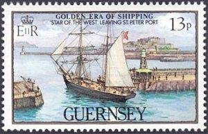 Guernsey # 270 mnh ~ 13p Ship Leaving Port