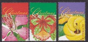Christmas Island # 413-415, Christmas - Tree Flowers, NH, 1/2 Cat.