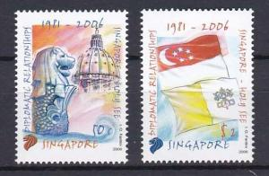 2006 - SINGAPORE, Diplomatic Relation Singapore and Vatican - Sc# 1232-3 - MNH**
