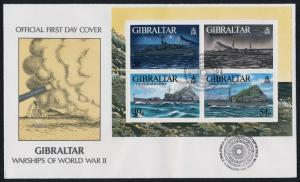 Gibraltar 714 on FDC - WWII Warships