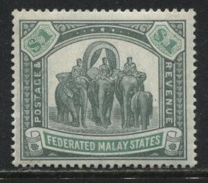 Federated Malay States 1901 $1 mint o.g.