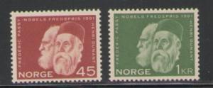 Norway Sc 401-2 1961 Nobel Prize Dunant Passy stamps NH