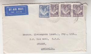 NORTHERN RHODESIA, 1951 Airmail cover, Chingola to Australia, KGVI 3d., 4d.(3)