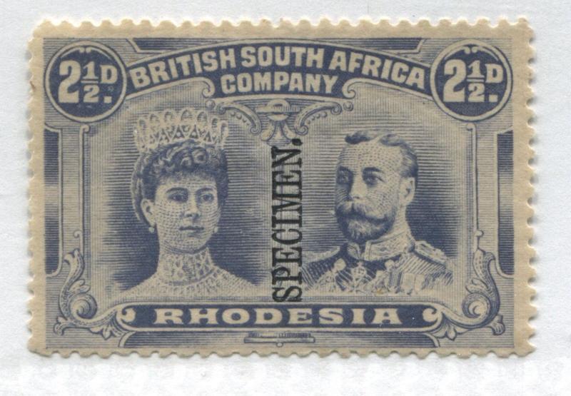 Rhodesia KGV 1910 2 1/2d Double Head overprinted vertical SPECIMEN