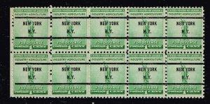 US STAMP #899 1940 1c Statue of Liberty, blue green MNH PRECANCEL NY BLK OF 10