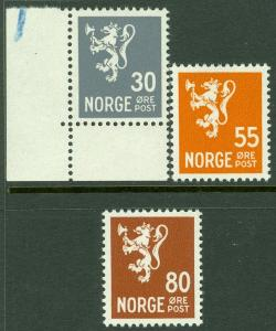 EDW1949SELL : NORWAY Scott #198A, 201-02A Very Fine, Mint Never Hinged. Cat $100