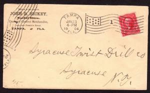 $Florida Machine Cancel Cover, Tampa, 1/23/1904, flag cancellation