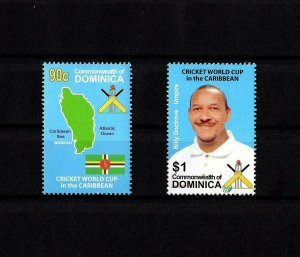 DOMINICA - 2007 - CRICKET - WORLD CUP - CARIBBEAN - UMPIRE - MAP - MINT NH SET!