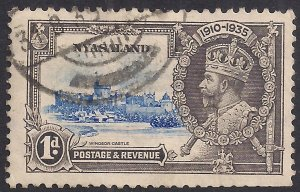 Nyasaland 1935 KGV 1d Silver Jubilee used SG 123 ( C1070 )