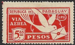 PARAGUAY 1929-31 5.65p CARRIER PIGEON Airmail Issue Sc C10 MH