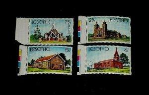 LESOTHO #314-317 1980, CHURCHES, SET/4 TAB SINGLES, MNH, NICE! LQQK