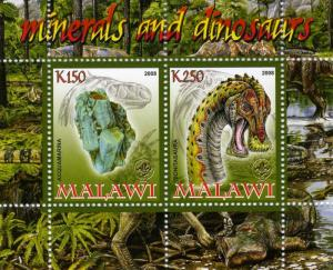 DINOSAURS and MINERALS Sheet Perforated Mint (NH)