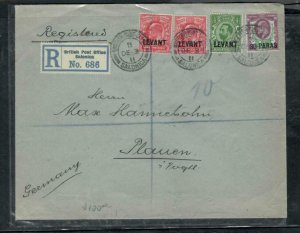 BRITISH LEVANT COVER (PP2912B)1911 KE 4 VALUES GB OVPTS ANTIQUE OVER 100 YEARS O