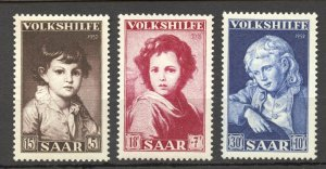 Saar,1952 Semi-Postal Set of 3, MNH, no faults