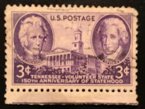 941 Tennessee Statehood, Circulated single, Good, NH, Vic's Stamp Stash
