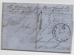 TRANS-ATLANTIC Ship Cover Charleston SC 1859 to Scotland via Steamer 'Africa'