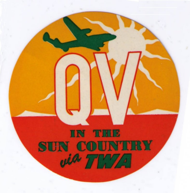 TWA 1950'S VINTAGE QV QUICKIE VACATION IN SUN COUNTRY LUGGAGE LABEL CINDERELLA
