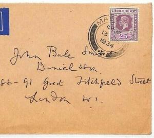 MALAYA Cover 1934 *Malacca*CDS Strait Settlements Air Mail {samwells-covers}HH67