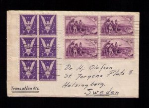 #905b DEEP RED VIOLET VF/XF ZIP BLOCK OF SIX ON A POSTAL HISTORY COVER