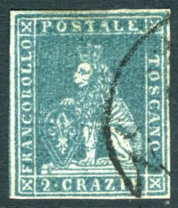 TUSCANY-1851 2c Blue Sg 11 VERY FINE USED V15810