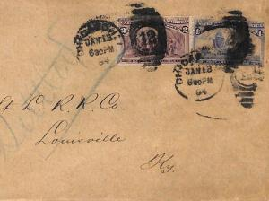 AX142 1894 USA Chicago COLUMBUS ISSUE FRANKING Cover Louisville RAILROAD Co SHIP