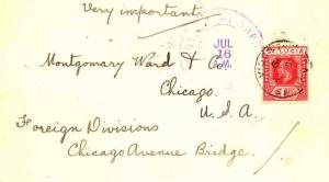 Saint Lucia 1d KGV 1919 Castries, St. Lucia to Chicago, Ill.  Pin holes.