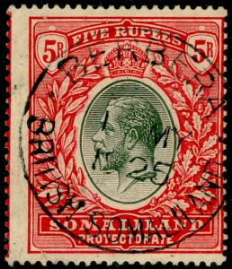 SOMALILAND PROTECTORATE SG85, 5r black & scarlet, used, CDS. Cat £200.