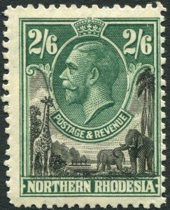 NORTHERN RHODESIA-1925-29 2/6 Black & Green Sg 12 LIGHTLY MOUNTED MINT V35922