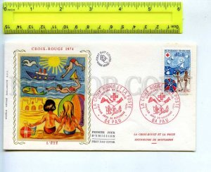 242319 FRANCE 1974 year RED CROSS Aid mountain FDC