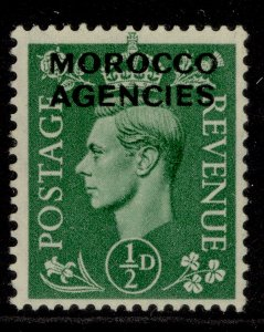 MOROCCO AGENCIES GVI SG77, ½d pale green, M MINT.