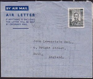 SOUTHERN RHODESIA 1947 4d air letter / aerogramme used to UK...............35184
