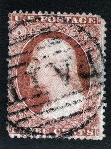 US Sc 25 Dull Red 3¢ Type I BOSTON Paid in Grid Cancel