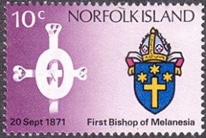 Norfolk Island # 147 mnh ~ 10¢ Cross and Coat of Arms