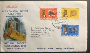 1968 Kuching Sarawak Malaysia First Day Cover FDC Natural Rubber conference