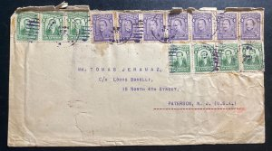 1919 Tumaco Colombia Commercial Cover To Paterson NJ USA