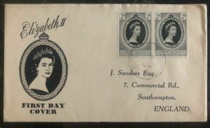 1953 Gilbert Ellice Islands to UK first day cover QE2 Queen Elizabeth II FDC