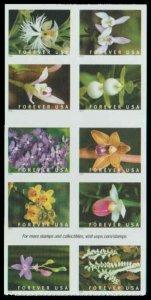 US 5445/5454a Block $5.50(10x{55c})Wild Orchids, MNH, (1)