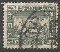 NEPAL, 1959, used 12p, Rhinoceros, Scott 109