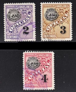 Costa Rica Scott O82-O84 F to VF used. Star perforated.