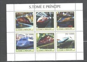 S TOME E PRINCIPE 2003 TRAINS M.S.. #1553  MNH