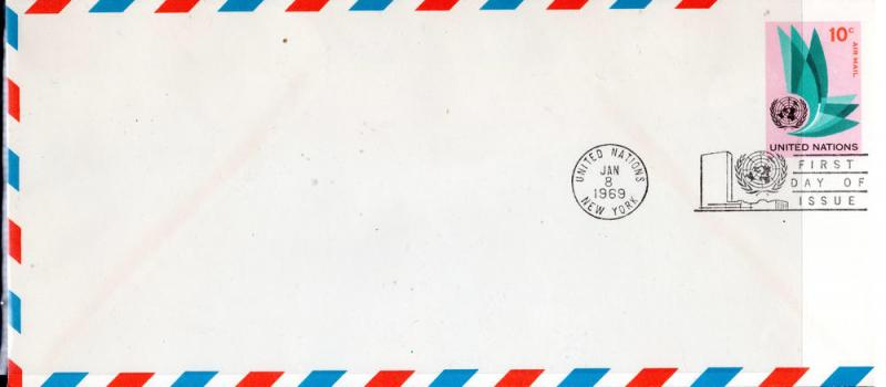 UN $.10 AIRMAIL POSTAL STATIONERY  FDC